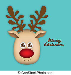 Rudolph the reindeer - Illustration of cartoon Christmas...
