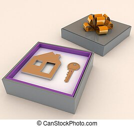 Key and symbol of house in red gift box. Concept of your dream house.