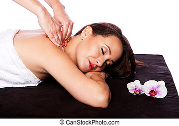 Relaxing neck shoulder massage in spa