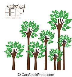 helping nature - Illustration recycling, hand forming a tree...