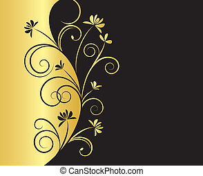 Floral Background in Black and Gold Colors