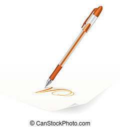 Ballpoint pen - Vector image of orange ballpoint pen writing...