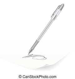 Ballpoint pen - Vector image of white ballpoint pen writing...
