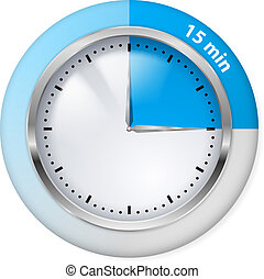 Timer icon - Blue Timer Icon Fifteen Minutes Illustration on...