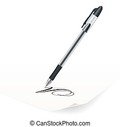 Ballpoint pen - Vector image of black ballpoint pen writing...