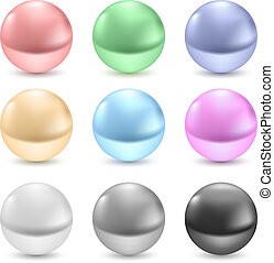 Pearls - Illustration of collection pearls isolated in white...