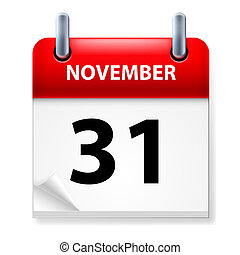 Calendar - Thirty-first November in Calendar icon on white...