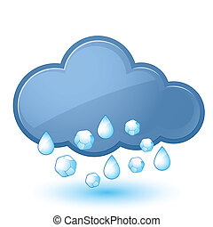 Cloud - Single weather icon - Cloud with Rain and Hail