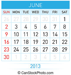 Calendar Month - June Twenty-thirteen Calendar Month...