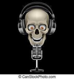 Human Skull in Headphones with eyes Illustration on black...