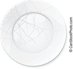 Broken Plate Illustration for design on white background