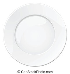 Empty white plate Illustration on white background