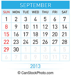 Calendar Month - September Twenty-thirteen Calendar Month...