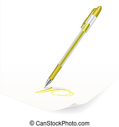 Ballpoint pen - Vector image of yellow ballpoint pen writing...