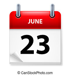 Calendar - Twenty-third June in Calendar icon on white...
