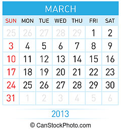 Calendar Month - March Twenty-thirteen Calendar Month...
