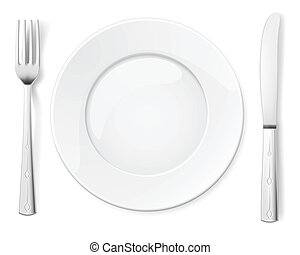 Empty plate with knife and fork. Illustration for design on...