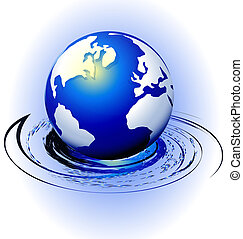 Globe with swirly motion vector