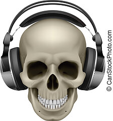 Human skull with music headphones Illustration on white