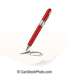 Pen - Vector image of red pen writing on paper