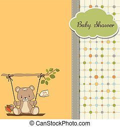 baby shower card with teddy bear in a swing