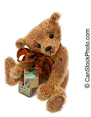 Teddy Bear with toy blocks - Cute Teddy bear sitting and...