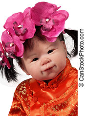 Asian Baby Girl Doll - Adorable Asian Baby Doll Smiling whit...