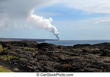 Big Island Kilauea Volcanoe - Fumes and smoke billow skyward...