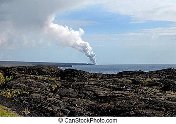 Big Island Kilauea Volcanoe - Fumes and smoke billow skyward...