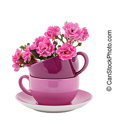 Coffee Cups with Pink Roses - Stack of Coffee Cups with Pink...