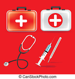 first aid kit - illustration of icons of health, first aid...