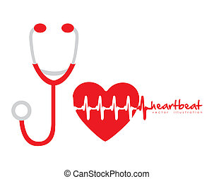 stethoscope - illustration of stethoscope with heart and...