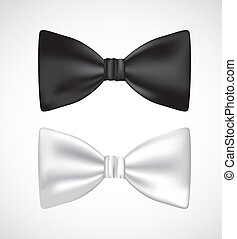 3D bow ties - illustration of 3D bow ties, white and black,...