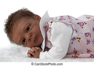 Newborn Baby Doll - A newborn baby Doll Lying Down, Isolated...