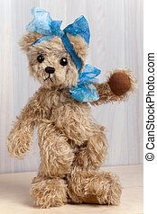 Cute Teddy Bear - Brown Teddy bear with blue Bow Standing...