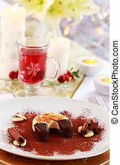 Dessert for Christmas with mulled wine