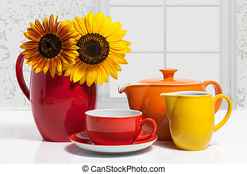 Dishware - Summer Multicolored Dishware with Sunflower