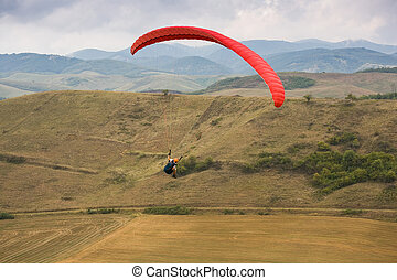 Paragliding fun outdoors in nature. - Action shots of...