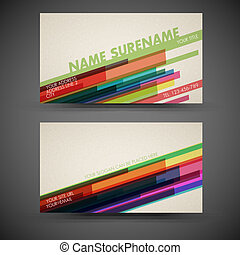 Vector old-style retro vintage colorful business card - both...