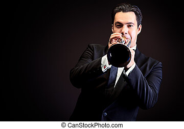 trumpet player - Portrait of a musician playing the trumpet....