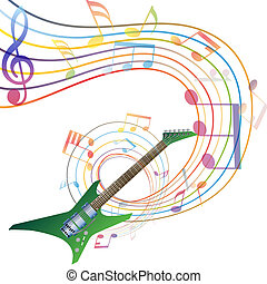 musical - Musical notes staff background with guitar. Vector...