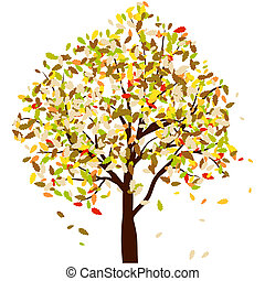 Autumn oak tree with falling leaves Vector illustration