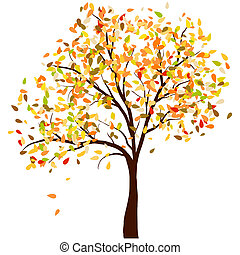Autumn birch tree with falling leaves background. Vector...