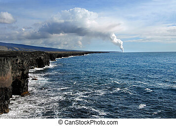 Active Volcano on Big Island - Inaccessible shoreline curves...