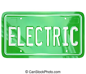 Electric Word Car Vanity License Plate Green Automobile