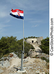 Castle on the top of hill in Skradin, Croatia