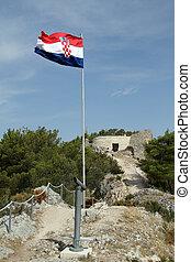 Castle on the top of hill in Skradin, Croatia
