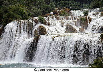 Waterfall in KRKA - Waterfall with clean water in national...