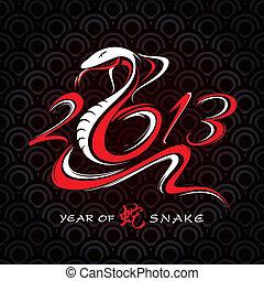 nouveau, année, carte, serpent