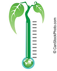 thermometer plant - a green plant growing from thermometer